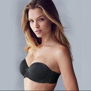 Victoria Secret- Black Lace Strapless Bra